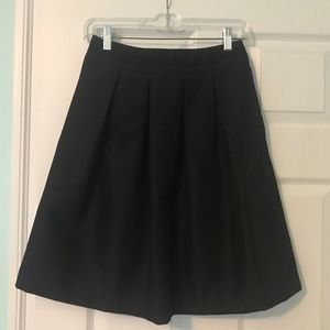 WHBM Black Pleated A-Line Ribbon Detail Skirt